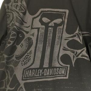 Harley Davidson L Shirt Button Down Front Black